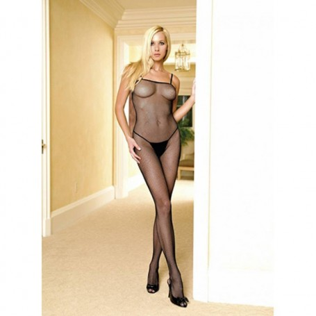 Tuta  rete aperta fishnet v-back black leg avenue