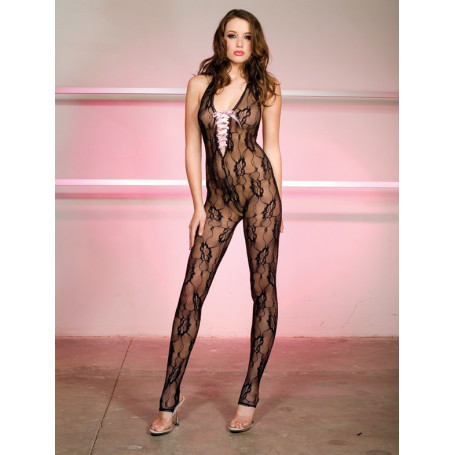 Bodystocking sexy fishnet con intrecci raso