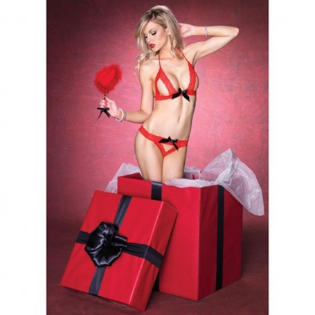 Coordinato intimo sexy set red Black hot
