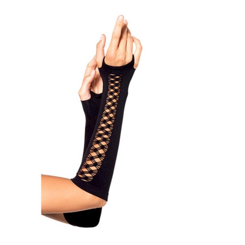 GUANTI ARM WARMER WITH NET DETAIL BLACK