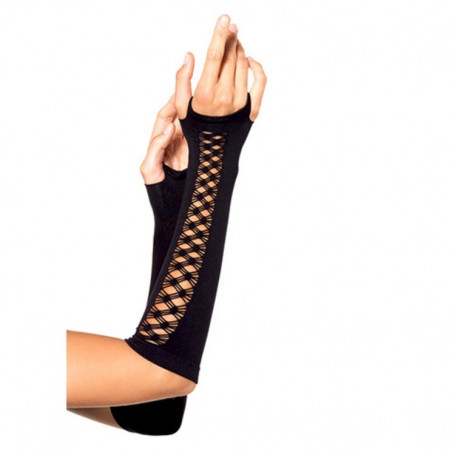 GUANTI ARM WARMER WITH NET DETAIL BLACK