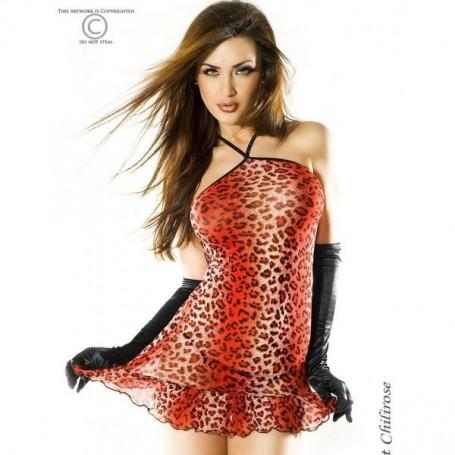Mini abito chilirose leopardato rosso e nero