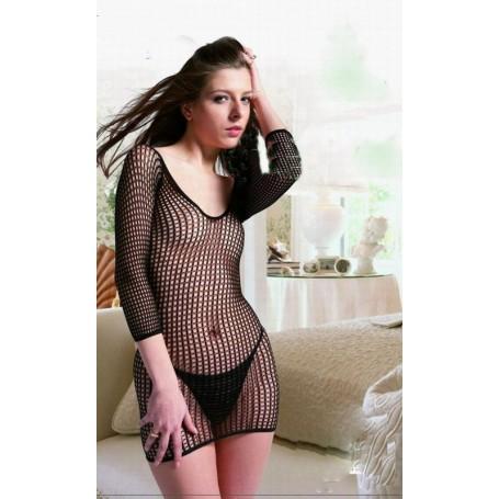 sexy mini abito tutina in rete nera tubino