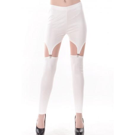 Leggings Pantaloni sexy bianchi effetto reggicalze