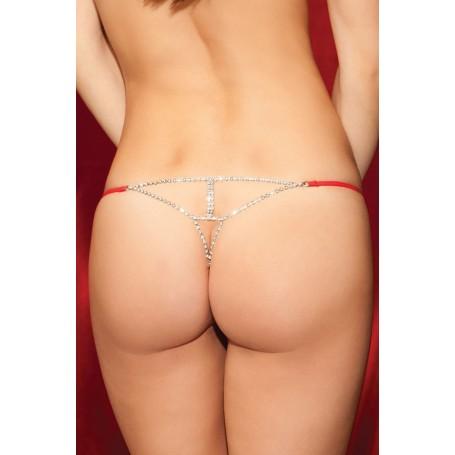 Perizoma donna con lavorazione brillantinata posteriore Red