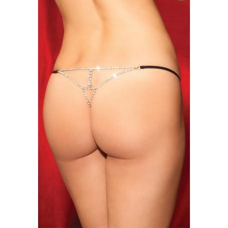 Perizoma donna con lavorazione brillantinata posteriore Black