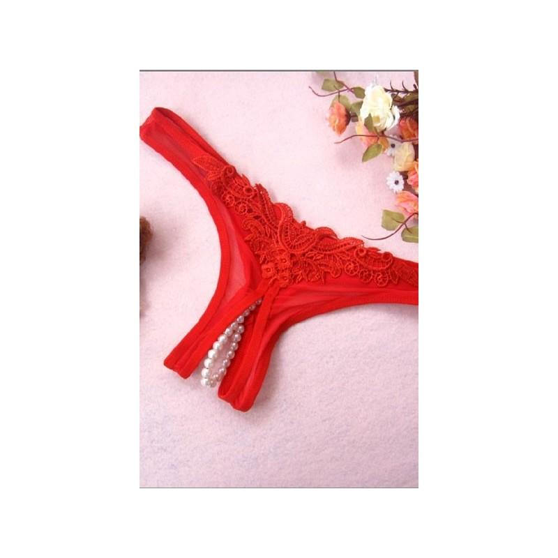 Perizoma donna con perline stimolanti g-string red