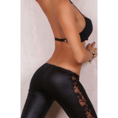 Sexy leggings semi lucido con lavorazione trasparente laterale