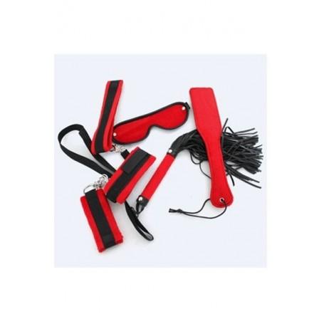 Sadomaso kit bondage red passion 6 pz rosso frusta manette
