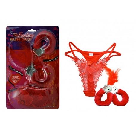 kit perizoma piuma e manette red hot sexy