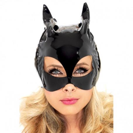Maschera nera da gatto in vinile lucido