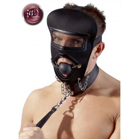 Maschera con morso bondage neoprene e guinzaglio fetish