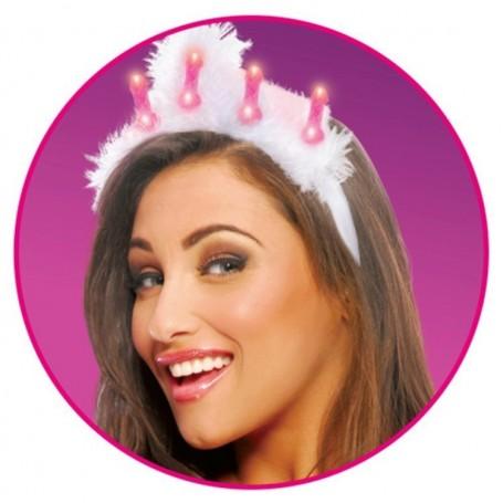 Corona di piume con inserti a forma di pene bachelorette party favors light up tiara