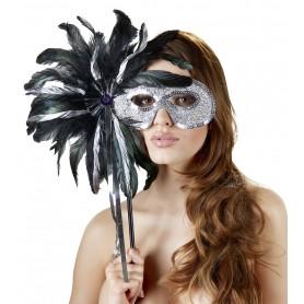 Maschera con piume e strass Maske com bastone