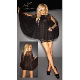 Mini abito sexy con trasparenze noir handmade