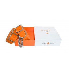 Manette soft bondage beginners vera pelle made in Italy Orange