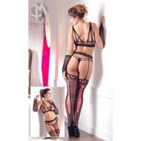 coordinato tutina sexy a rete-con nastro rosa posteriore perizoma top e guanti