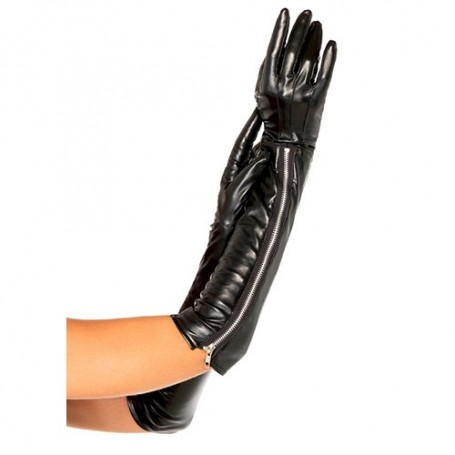 GUANTI FAUX LEATHER ZIPPER GLOVES BLACK
