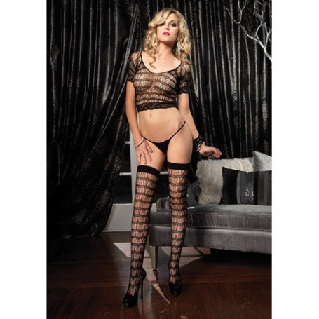 COORDINATO INTIMO LACE AND NET BLACK