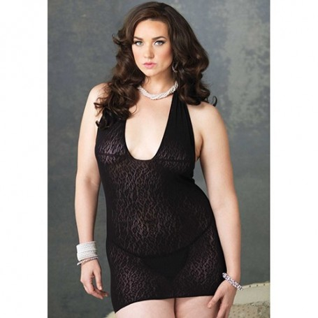 ABITO PLUS SIZE LEOPARD LACE BLACK
