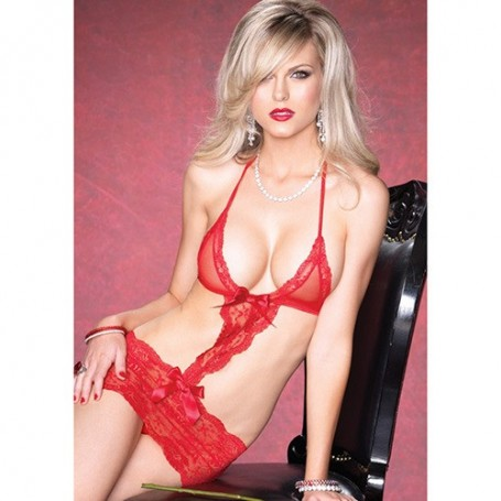 INTIMO LACE CUT OUT RED