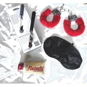 Kit  bondage manette mascherina lubrificate e rotella di Wartenberg