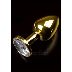 Plug anale fallo in Accaio dildo con diamante Jewellery Gold Viola