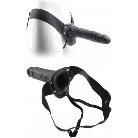 Fallo dildo indossabile strap on cavo Con testicoli Real Rapture 8 Black