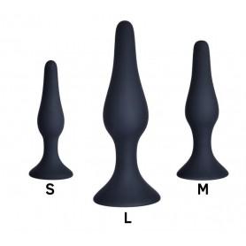 Kit plug anale slm nero dildo in silicone con ventosa