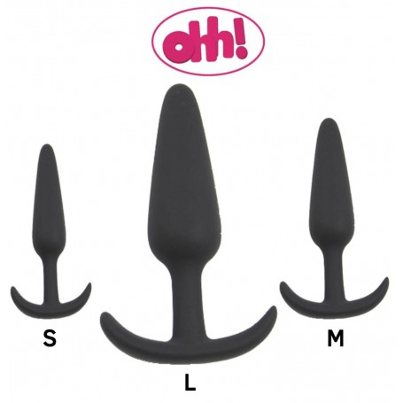 Kit plug anale ancor nero dildo in silicone tris black butt
