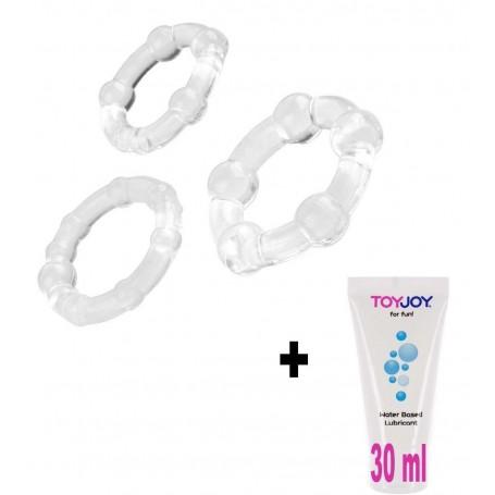 Kit sex toys con anello fallico 3 pz contro eiaculazione precoce pene + lubrificante 30 ml