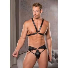 Kit bondage bdsm uomo abbigliamento pettorina con slip e guinzaglio