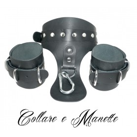 Collare costrittivo bondage fetish con manette  in vera pelle made in italy