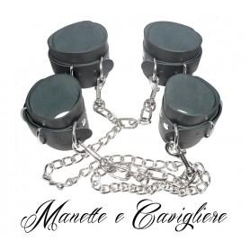 Cavigliere Manette bondage fetish costrittivo in vera pelle unite da catena e ganci