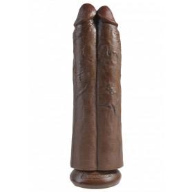Fallo dildo vaginale realistico doppio king cock scuro 11 two cocks brown