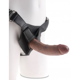 Fallo realistico indossabile strap on dildo vaginale anale king cock herness 8 brown