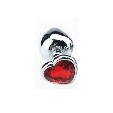 Plug anale in metallo acciaio dildo con pietra gioiello cuore red rosso fallo medium anal butt