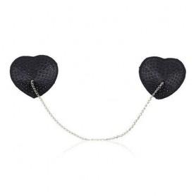 Heart chain nipples tassels copri capezzoli nero sexy fetish adesivi