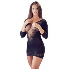 Sexy mini abito aderente donna corto in pizzo rete elegante manica lunga