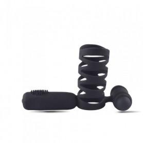 Guaina fallica per il pene prolunga vibrante anelo fallico in silicone nero sex toy per uomo