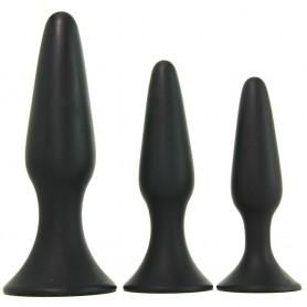 Kit Fallo anale tappo anal nero dildo black set 3 pz mini med maxi butt plug