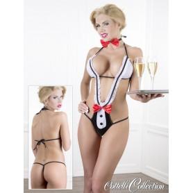 Sexy body teravestimento cameriera con fioccchi