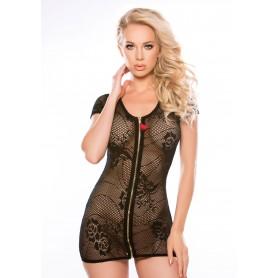 lingerie vestitino sexy corto nero a rete donna