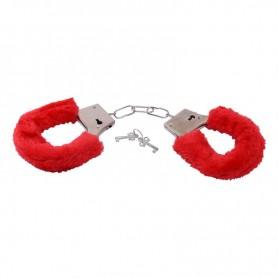 Manette con pelliccia sintetica bondage cuffs fetish costrittivo red