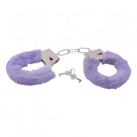 Manette con pelliccia sintetica bondage cuffs fetish costrittivo purple
