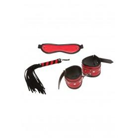 Kit bondage costrittivo con manette frusta fetish e maschera rosso sexy