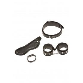 Kit costrittivo collare manette maschera e anello fallico in eco pelle nero