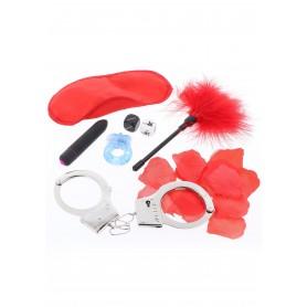 set gioco intimo manette frustino anello fallico maschera vibratore rosso sexy