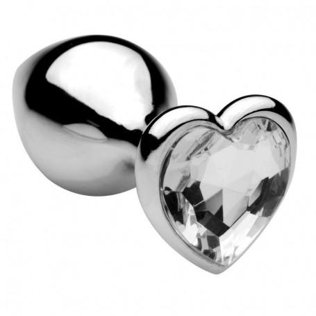 Plug anale in metallo acciaio dildo con pietra gioiello cuore trasparente fallo medium anal butt