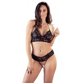 lingerie donna completino intimo sexy reggiseno tanga reggiseno aperto nero